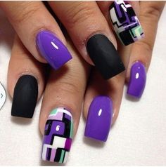 Purple block nail art