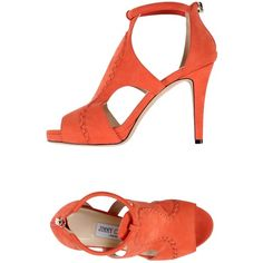 Jimmy Choo Sandals ($740) ❤ liked on Polyvore featuring shoes, sandals, coral, zipper shoes, jimmy choo shoes, animal shoes, round toe stilettos and leather sandals