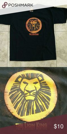Lion King Broadway Tshirt Do you like the Lion King? If yes, then this shirt is for you! This shirt comes from the Broadway Musical! A must have for any Broadway lover! Tag says youth L but it will fit woman Small as well. Shirts & Tops Tees - Short Sleeve