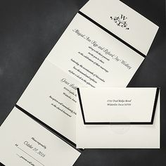 Show your sophisticated style with the black and white seal n' send wedding invitation.   http://partyblock.carlsoncraft.com/Wedding/Seal-n-Sends/1080-WRMD30696-Sophisticated-Style--Seal-n-Send--Ecru.pro