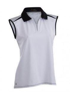 e92f4e85e5cc4 Nancy Lopez Plus Size Favor Trimmed Sleeveless Shirt-White Black Womens  Golf Shirts