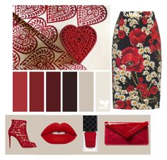 """""""A Red Thing"""" by stonge-02 on Polyvore featuring Dolce&Gabbana, Lime Crime, Gucci and L.K.Bennett"""