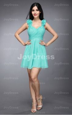 buy green mini dresses 2013,Floral A-line Shoulder Straps Short Dress