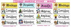 Ελένη Μαμανού: Καρτέλες εποχές - μήνες Bullet Journal, Classroom, School, Greek, Blog, Fall, Class Room, Autumn, Greek Language