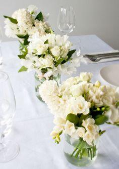 White flowers in jars