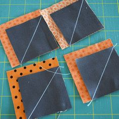 Make This: Fall Pumpkin Table Runner Tutorial - Make This: Fall Pumpkin Table Runner Tutorial pumpkin-corner-squares Quilting Tutorials, Quilting Projects, Triangle Quilt Tutorials, Quilting Ideas, Small Quilt Projects, Quilt Block Patterns, Quilt Blocks, Table Runner Tutorial, Table Runner Pattern