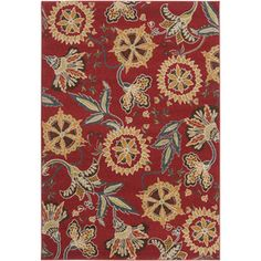 Artistic Weavers Libya Rectangular Indoor Woven Area Rug (Common: 5 x Actual: W x L) Lowes Rugs, Clearance Rugs, Polypropylene Rugs, Rectangular Rugs, Red Rugs, Floral Motif, Floor Rugs, Throw Rugs, Joss And Main