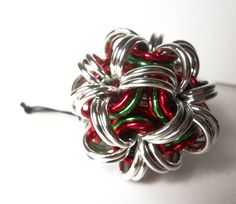 Chainmaille Christmas ornament Ball Red, green, and silver  #dteam #etsy