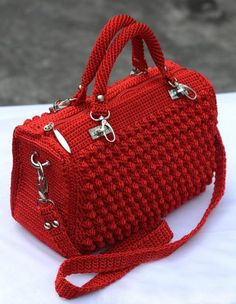 crochet bag tutorial step by step - Free Knitting Pattern Crochet Simple, Free Crochet Bag, Crochet Market Bag, Crochet Purses, Hand Crochet, Double Crochet, Knitting Patterns Free, Free Knitting, Baby Knitting