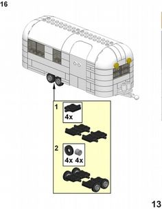 Airstream Trailer Instructions :: Building Instructions, Tips, and Tricks. Airsteam Trailer Instructions Designed for my MOC Billybob's Ostrich Ranch. If you build this Airstream Trailer or a version of it, pl. Lego Camper, Cool Lego, Cool Toys, Legos, Lego Sculptures, Lego Club, Lego Modular, Airstream Trailers, Lego Worlds