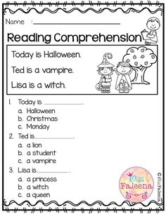 October Reading Comprehension October Reading Comprehension is suitable for Kindergarten students or beginning readers. This product is helping children to sharpen readin First Grade Worksheets, Kindergarten Worksheets, Kids Worksheets, Kindergarten Reading, Teaching Reading, Reading Activities, Reading Comprehension Worksheets, 2nd Grade Classroom, First Grade Reading