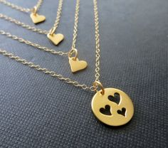 Perfect gift for mother of three. Four separate necklaces featuring vermeil gold cut out heart disc for mother and tiny heart necklaces for daughters. 14k gold filled delicate cable chain small heart charm necklace-16 Cutout heart charm necklace-18 *Please let me know if you need