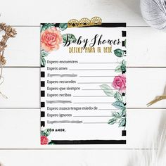 ⭐ WIshes for the baby, blessings for the baby, baby shower game, printable baby shower games, español, spanish, deseos para el bebé, prints   NOTE: YOUR DOWNLOAD WILL NOT HAVE ANY WATERMARK OR BLURRED QUESTION-WORDS.  ₪₪₪₪₪₪₪₪₪₪₪  Whats in the download?  The download contains 1 PDF file - 1 page sized 11x8.5 with two 5x7 game cards ⭐For game packs with more than 10 bridal shower games: 1. https://www.etsy.com/es/listing/539614539/baby-shower-kit-de-juegos-baby-sh...
