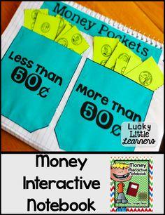 I've got a surprise. I UPDATED my Money Interactive Notebook! Interactive Math Journals, Math Notebooks, Teaching Money, Student Teaching, Fun Math, Math Games, Maths, Math Math, Guided Math