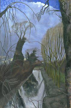 John Nash 'The Moat, Grange Farm, Kimble', exhibited 1922 © The estate of John Nash. All Rights Reserved 2010 / Bridgeman Art Library Landscape Art, Landscape Paintings, Seascape Paintings, John Nash, Tate Gallery, Art Uk, Your Paintings, Tree Paintings, Illustration Art