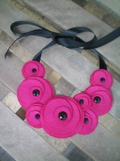 Necklace...bib...felt...Flower Swirl Necklace fushia by NoPlainTs, $20.00