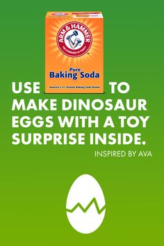 Make a DIY Toy Surprise with ARM & HAMMER™ Baking Soda! From the little dino egg, pop a toy inside and then, with a little vinegar, watch it dissolve and reveal the surprise Preschool Science, Craft Activities For Kids, Science For Kids, Toddler Activities, Projects For Kids, Diy For Kids, Craft Ideas, Crafts To Do, Crafts For Kids