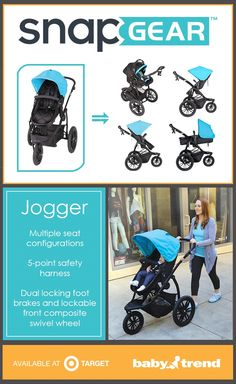 The new Baby Trend Snap Gear Jogger has multiple seat configurations so baby can face parent, face away from parent, be in an infant car seat, or carriage mode. It does it all! Available in light blue, red and grey.