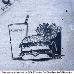 Its ArtBasel Miami so heres a #tbt of stencil by BEAST buddy @denialart  in Wynwood 2010. See more in Art On The Run photo journals!  #artbasel #streetart #graffiti #denial denialart #streetartbook #graffitibook #stencil #miamistreetart #wynwood #wheatpaste #pasteup  #junkfood #supersizeme #burger #aotrbooks #beast #keepitBEAST