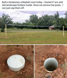 Removable volleyball posts Two feet of pvc. Back filled one foot deep. Landscape timber is only buried 1 foot, leaving seven feet of height. Placed an eye screw in the top, adding one more inch, getting to regulation Volleyball Memes, Volleyball Training, Volleyball Workouts, Coaching Volleyball, Beach Volleyball, Girls Basketball, Girls Softball, Volleyball Hair, Volleyball Players
