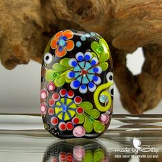 1 handmade lampwork bead focal -- free-formed -- SRA -- glass -- I g u a l   -- Calypsos Beads -- Silke Buechler. $35.00, via Etsy.