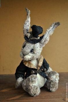 Купить Клаус - серый, кролик, кролики, кролик игрушка, кролик тедди, авторская ручная работа