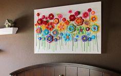 Bloemen op canvas