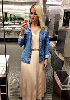 maxi dress + chambray shirt (pinterland attire)