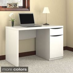 Inval Laricina White Modern Straight Desk | Overstock.com Shopping - The Best Deals on Desks