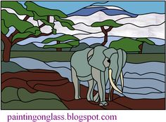 Free Stained Glass Pattern :Africa Elephant ~ painting on glass