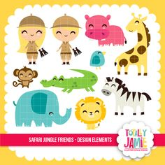 Safari Jungle Friends Set - perfect for crafts, scrapbooking, card making and more.