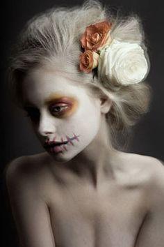 what a beautiful take on skeleton/sugar skull makeup