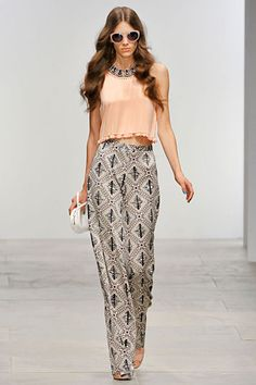 printed pants + peach *