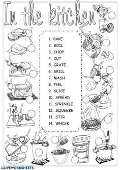 Kitchen verbs pictionary - ESL worksheet by Alenka Food Vocabulary, Vocabulary Worksheets, First Grade Math Worksheets, Action Verbs, I Really Love You, School Subjects, Second Language, In Writing, Learning Spanish