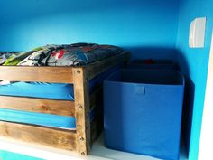 A DIY bulkhead box room bed and bedroom makeover post. Ideal bedroom decor idea for teenagers. Check out our home makeover post and Si's clever DIY. Box Room Bedroom Ideas For Kids, Box Room Beds, Blue Bedroom, Teen Bedroom, Bedroom Decor, Bed Storage, Storage Boxes, Diy Bed, Clever Diy