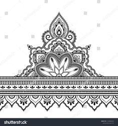 Seamless Borders Mandala Design Application Henna Stock Vector (Royalty Free) Seamless borders with mandala for design, application of henna, Mehndi and tattoo. Decorative pattern in ethnic oriental style. Mandala Tattoo Design, Dotwork Tattoo Mandala, Henna Mandala, Henna Tattoo Designs, Mandala Drawing, Mandala Art, Henna Mehndi, Designs Mehndi, Henna Tattoos