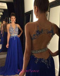 Backless Prom Dresses 2016 New Royal Blue Prom Dress Open Backs Sparkly Chiffon…