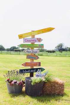 Colourful sign post