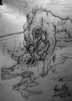 CHUPACABRAS - sketch     Sketch for an illustration on the Chupacabras.  Sketch para una ilustración del Chupacabras.  pen + paper
