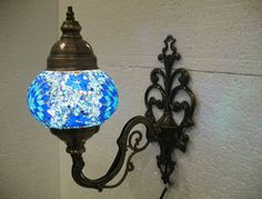 Blue mosaic glass sconce lamp wall lamp lampe by meryemart on Etsy Blue Mosaic, Mosaic Glass, Turkish Lights, Outdoor Lamps, Moroccan Lanterns, Wall Lights, Ceiling Lights, Lamp Light, Wall Sconces