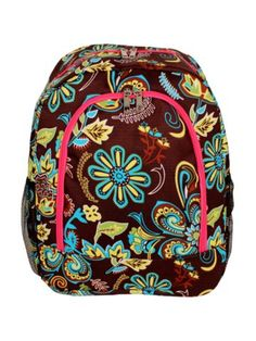 $13.75 Paisley Flower Large Backpack with Hot Pink Trim