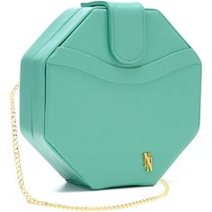 Nyla Noor Seafoam Octagonal Stagelight Clutch ($298) ❤ liked on Polyvore featuring bags, handbags, clutches, purses, bolsas, chain handle handbags, blue handbags, chain strap handbag, chain strap purse and blue purse