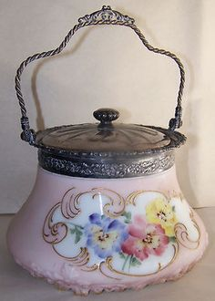 Old Antique MT Washington Biscuit Jar Embossed Satin Glass Siverplate Pansy | eBay