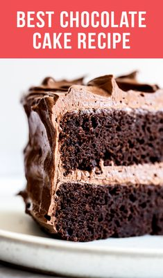 This Best Chocolate Cake recipe makes for the most flavorful, moist, and tender chocolate cake you've ever tasted! Everyone LOVES it and you don't even need a mixer to make the batter. Amazing Chocolate Cake Recipe, Best Chocolate Cake, Chocolate Desserts, Chocolate Lava, Simple Chocolate Cake, Sour Cream Chocolate Cake, Chocolate Cake From Scratch, Chocolate Cake With Coffee, Chocolate Cake Recipe With Butter