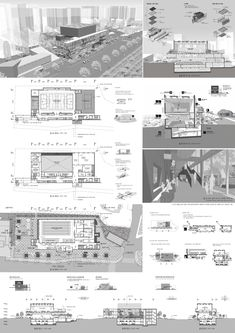 Collage Illustration, Wood Glass, Autocad, Architecture Design, Competition, Presentation, Floor Plans, Concept, Drawing