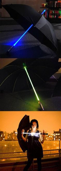TheLightsaber Umbrella will really make you stand out from the crowd at night with its iridescent glow. This unique umbrella has four different color mode