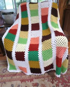 Vintage Crochet Patchwork Afghan Orange Rust Gold Brown Green 1970's Earth Tones Large  44 x 72 inches Off White Background Washable