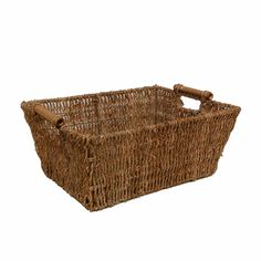 Kalani Med Sea Grass Utility Basket with Bamboo Handle 14in