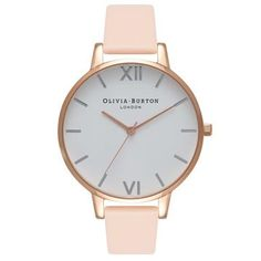 The gorgeous shade of the season, this beautiful Olivia Burton Big Dial Nude Peach watch in Rose Gold features: Rose Gold sunray dial Rose Gold pl. Rose Watch, Rose Gold Watches, Rose Gold Jewelry, Gold Jewellery, Look Chic, Pink Leather, Rose Gold Plates, Lady, Jewelry Watches