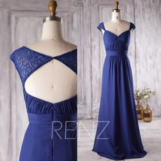 2016 Royal Blue Bridesmaid Dress Lace Cap Sleeves by RenzRags
